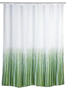 Wenko 20060100 Anti-Schimmel Duschvorhang Nature - Anti-Bakteriell, waschbar, mit 12 Duschvorhangringen, Kunststoff - Polyester,  cm, Weiß