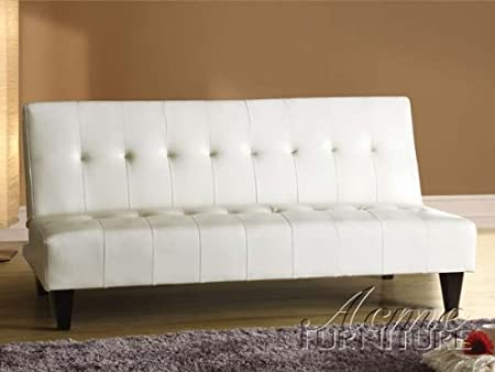 Conrad white leather like vinyl adjustable sofa futon bed with tufted back and dark finish legs