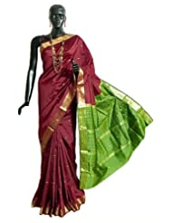 Maroon South Art Silk Saree with All-Over Zari Boota, Zari Border and Green Pallu - Art Silk