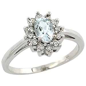 10K White Gold Natural Aquamarine Diamond Flower Halo Ring Oval 6X4mm, 3/8 inch wide, size 8