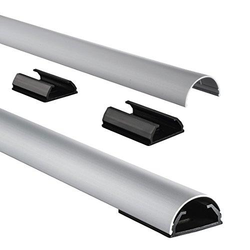 Hama-Kabelkanal-Alu-Aluminium-halbrund-110-x-33-x-18-cm-bis-zu-5-Kabel-4-Halteclips-silber