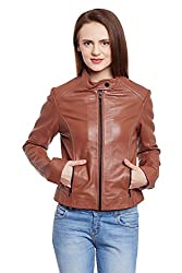 WOMEN'S COGNAC STAND-UP COLLAR LEATHER JACKET