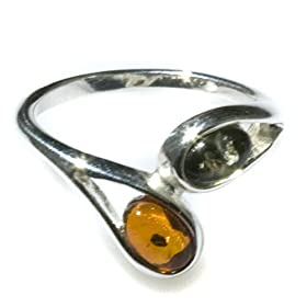 Sterling Silver Multi-Color Amber Twig Collection Ring