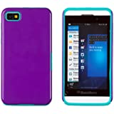 DandyCase 2-Piece Hybrid High Impact Outer Case with Silicone Inner Case for BlackBerry Z10 - Includes DandyCase Keychain Screen Cleaner [Retail Packaging by DandyCase] (Purple & Teal)