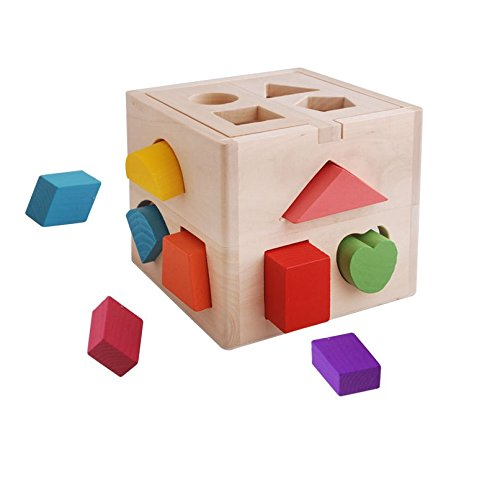 CECII 13 Hole Wooden Shape Sorting Box for Shape Sorter Cognitive and Matching Wooden Toys, Baby Children's Educational Toys, For more than 3 years. (Sliding Spoon compare prices)