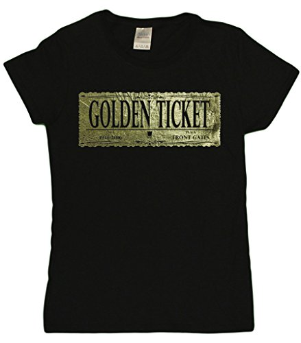 Ladies Gene Wilder Tribute Golden Ticket T-Shirt (Small, Black) (Golden Ticket compare prices)