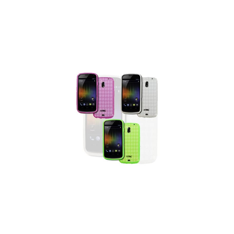 EMPIRE Samsung Galaxy Nexus I515 Pack of 3 Poly Skin Case Covers (Clear, Hot Pink, Neon Green Diamond) [EMPIRE Packaging]