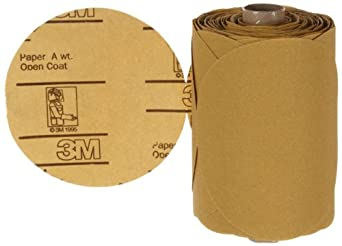 "3M  Stikit  Gold Paper Disc Roll 216U, Paper, PSA Attachment, Aluminum Oxide, 5"" Diameter, P120 Grit, Gold (Roll of 125)"