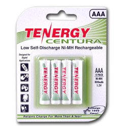 Tenergy Centura AAA Low Self-Discharge LSD NiMH Rechargeable Batteries, 1 Card 4xAAA