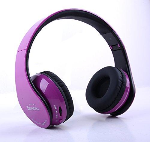 Purple wireless headphones with mic - headphones with microphone hifi