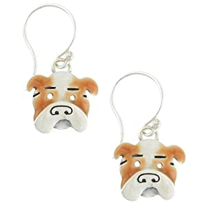 Bulldog Enamel & Silver Dangle Earrings
