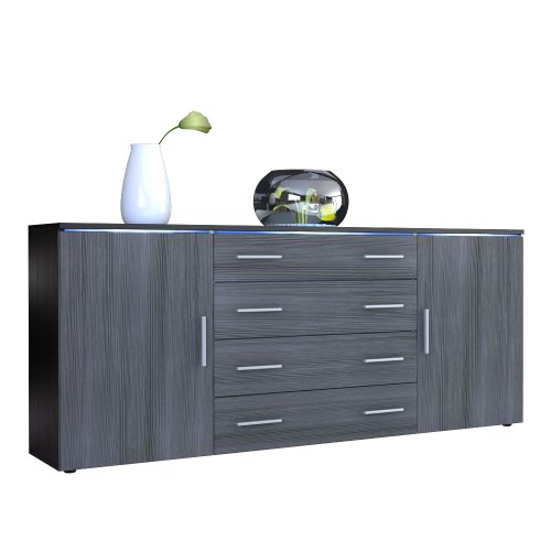 Sideboard-Kommode-Faro-V2-Korpus-in-Schwarz-matt-Front-in-Avola-Anthrazit