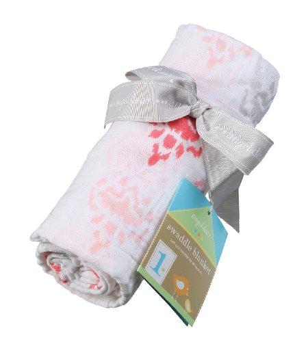 Angel Dear Muslin Swaddle Two Pack-Ikat and Floral Overlay - 1