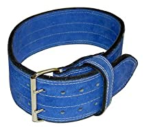"Ader Leather Power Weight Lifting Belt- 4"", Blue, Double Buckle (L 34-43"")"