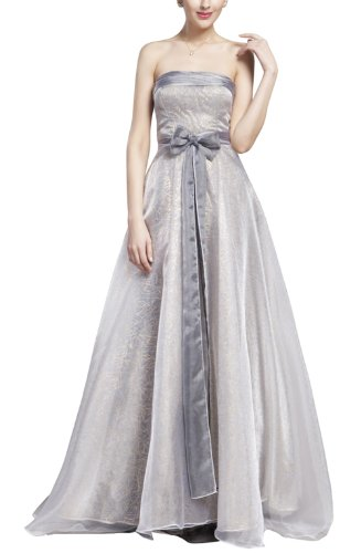 B-Fy Womens Silver Grey Tencel Strapless Floor Length Bridal Party Dress 6 Us