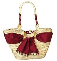 Belle Plex Womens Cat Straw Summer Beach / Shopper / Purse Bag Burgundy