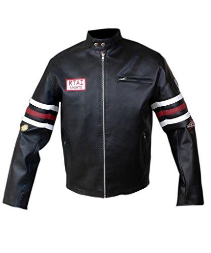 [F&H Men's House MD Dr. Gregory House Genuine Leather Jacket M Black] (Dr Gregory House Costume)