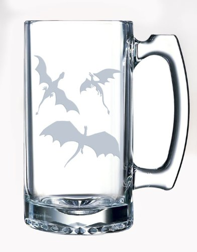 3 Dragons Flying Etched Glassware Stein Mug