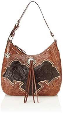 American West Heart Of Gold Shoulder Bag,Antique Brown/Chocolate/Cream,One Size