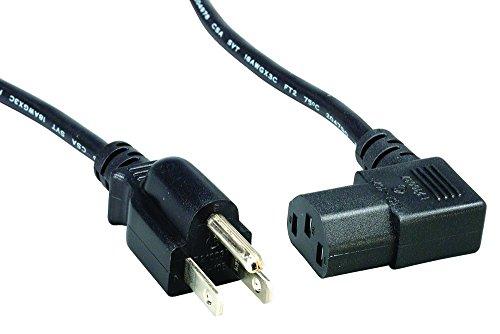 Cablelera 10' North American Power Cord, NEMA 5-15P and IEC-60320-C13 Right Angle, Black (ZADA15PC-10) (90 Degree Computer Power Cord compare prices)