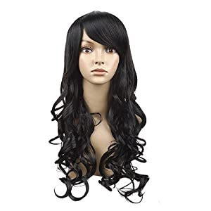 MapofBeauty Long Wave Curly Hair Wig Full Wig for Women Long (Black)