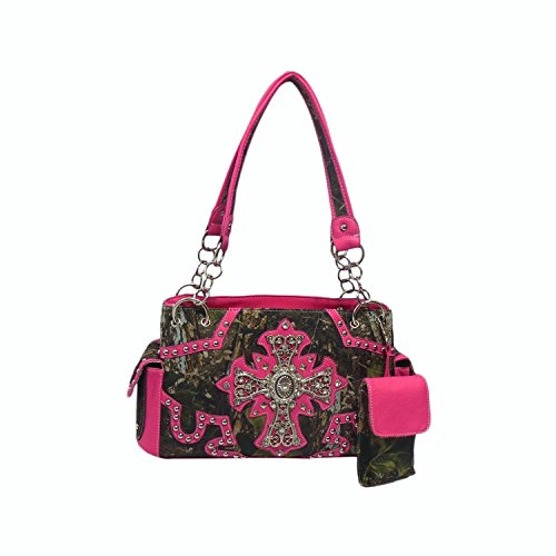 Cowgirl Bling Camo Purse - Rhinestone Cross & Concealed Carry Gun Pocket