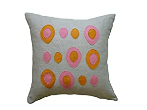 Balanced Design Eggs Applique Oatmeal Linen Fabric Pillow, 16 by 16 Inch, Spice/Rose available at Amazon for Rs.23301