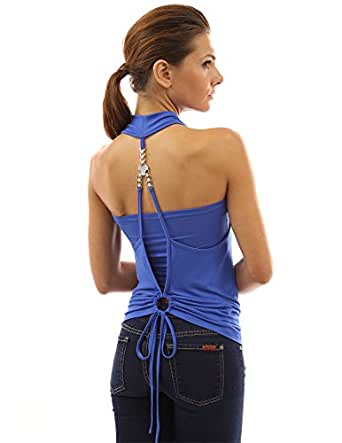 PattyBoutik Women's Faux Crystal Twinset Tank Top (Bright Blue S)