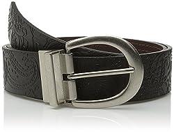 Relic Women's Emboss Reversible Belt, Black/Brown, X-Large
