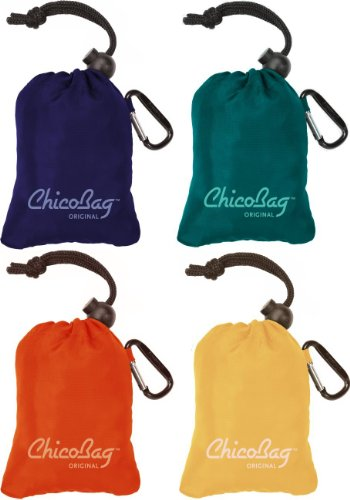 ChicoBag-Original-Reusable-Shopping-Tote-Grocery-Bag-Variety-4-Pack-Mazarine-Blue-Aqua-Orange-Peel-and-Yellow