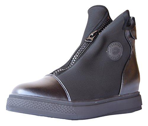 Principe - Sneakers donna scarpe ginnastica sport stivaletto basso zip rialzo interno X2546 (38)