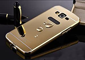 Samsung Galaxy Grand Prime G530 Luxury Aluminium Bumper With Mirror Acrylic Back Cover - Gold