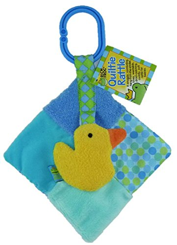 "Rich Frog 5"" Baby Quiltie Rattle - Blue Duck - 1"