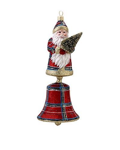 Kurt Adler 8.1 David Strand Plaid Santa Bell Ornament