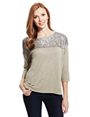 M&S Collection Sequin Embellished Boxy Jumper