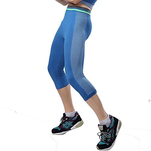 Prettywell Mens Sports Compression Quick Dry Calf Length Tight Pants MA-15 (L, Blue)