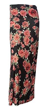Gravity Threads Women's Fashion Designer Pattern Span Maxi Skirt, Light Pink Floral
