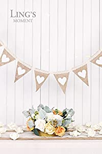 Ling's moment Hessian Burlap Pennant Bunting Banner Flags with Lace for Wedding, Party, Home Decoration, 12pcs, 8Ft, DIY Decor from ling's moment