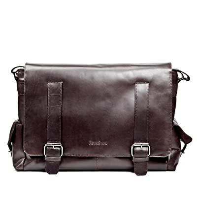 FEYNSINN grand sac bandoulière ASHTON - sacoche pour ordinateur portable en cuir - besace homme retro look usé vintage