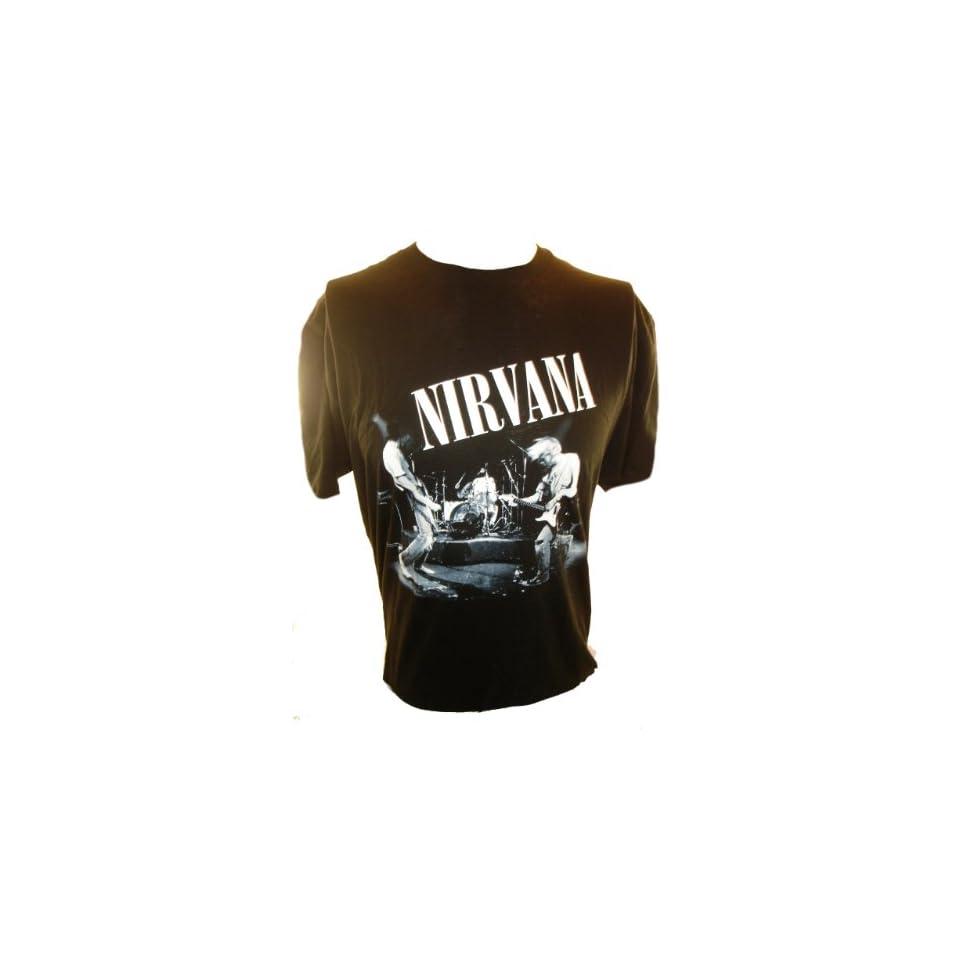 Nirvana (Kurt Cobain) Mens T Shirt   Black and White Band