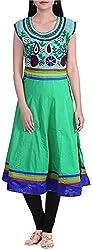 BleuIndus Women's Cotton Kurta (KRT-310_L, Green, L)
