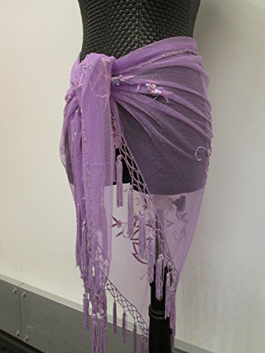 Embroidery beaded triangle soft lace shawl hip scarf wrap with beaded Tassels - Purple