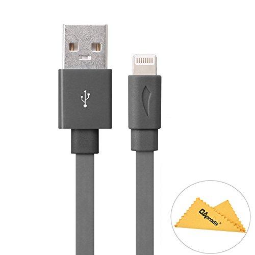 Yellowknifeiphone5/5c/5S/Iphone6/6plus/ipad/ipod対応MFI認証済(Made for iPhone取得)のlightning usbケーブル(8pin)ライトニング USB充電ケーブル+OAproda拭き布 きしめんタイプ Flat型 1m (Greyグレー)