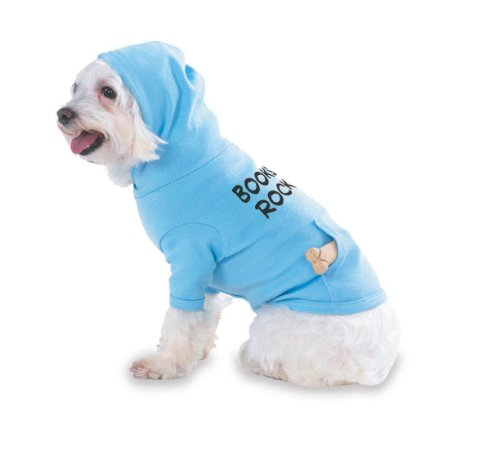 Books Rock Hooded (Hoody) T-Shirt with pocket for your Dog or Cat LARGE Lt Blue