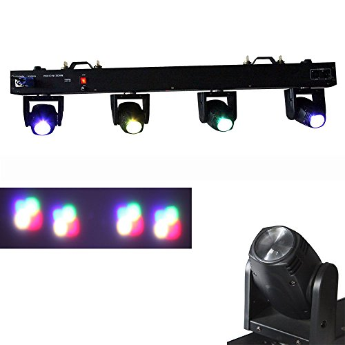Yiscortm Stage Lighting Led Light 80W 4 Moving Heads Dmx512 6/29 Channels Rgbw 4In1 Cree For Club Dj Disco Home Garden Party Wedding Effect