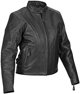 River Road Race Leather Womens Jacket , Gender: Womens, Primary Color: Black, Size: XL, Apparel Material: Leather, Distinct Name: Black XF09-1550
