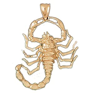 14k yellow gold 38mm scorpion pendant approx 4 4 grams