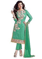 Cenizas Green Colour Mix Cotton Embroidered Unstitched Salwar Suit
