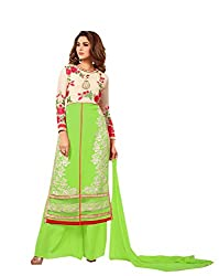 Amyra Women's Georgette Dress Material (AC794-08, Green)