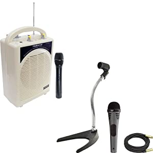 Pyle Speaker, Mic, Cable and Stand Package - PWMA100 Rechargeable Portable PA System with Wireless MIC - PDMIK2 Professional Moving Coil Dynamic Handheld Microphone - PMKS8 U-Base Gooseneck Desktop Microphone Stand - PPMCL50 50ft. Symmetric Microphone Cable XLR Female to XLR Male